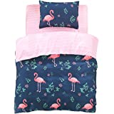 FindNew Animal Pattern Reactive Printing Bedding Duvet Cover Set, 3-Piece Suit,1 Duvet cover,1 Flat Sheet,1 Pillowcase, Great Gift Idea For Boys & Girls, Cool & Breathable(Twin size, Flamingo)