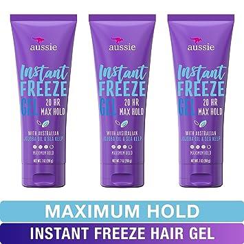 Aussie Instant Freeze Sculpting Maximum Hold Hair Gel with Jojoba Oil, Sea  Kelp and Australian Aloe, 7 Oz