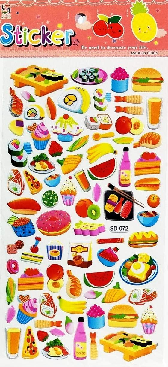 PARITA 1 Sheet Hamburger Shrimp Tempura Sushi Japanese Food Cartoon Label Stickers Foam Bubble Art Decal Teacher Reward Gift & Paper Kids Crafts Scrapbooking Decoration (14)