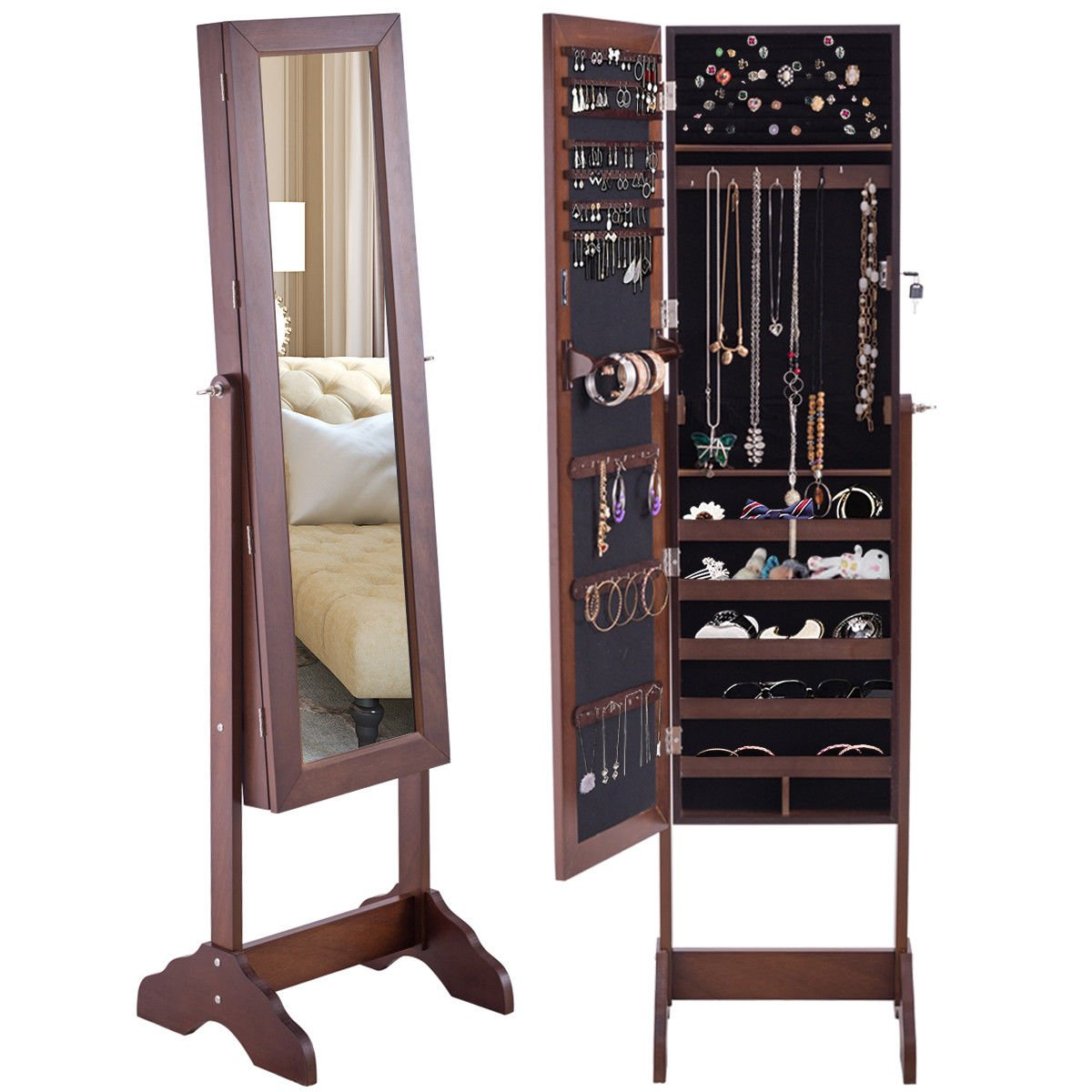 Giantex Mirrored Jewelry Cabinet Armoire Storage Organizer Box w/Lockable Adjustable Stand