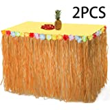 2PCS Luau Hawaiian Grass Table Skirt Decorations - Hula Hibiscus Tropical Birthday Summer Pool Party Supplies