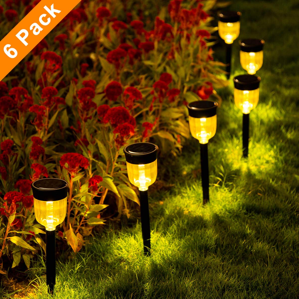 SMY Solar Pathway Lights,6 Pack Solar Outdoor Lights,Garden Lights Outdoor Landscape Lighting for Lawn,Yard,Patio, Pathway,Walkway,Warm White