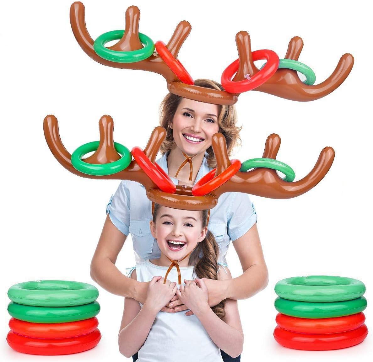 Gioco Gonfiabile Cappello di Corna di Renna con 12 Anelli di Lancio per Feste di Festa FORMIZON 2 Pezzi Renna Gonfiabile Natale Festa di Capodanno Giochi Divertenti