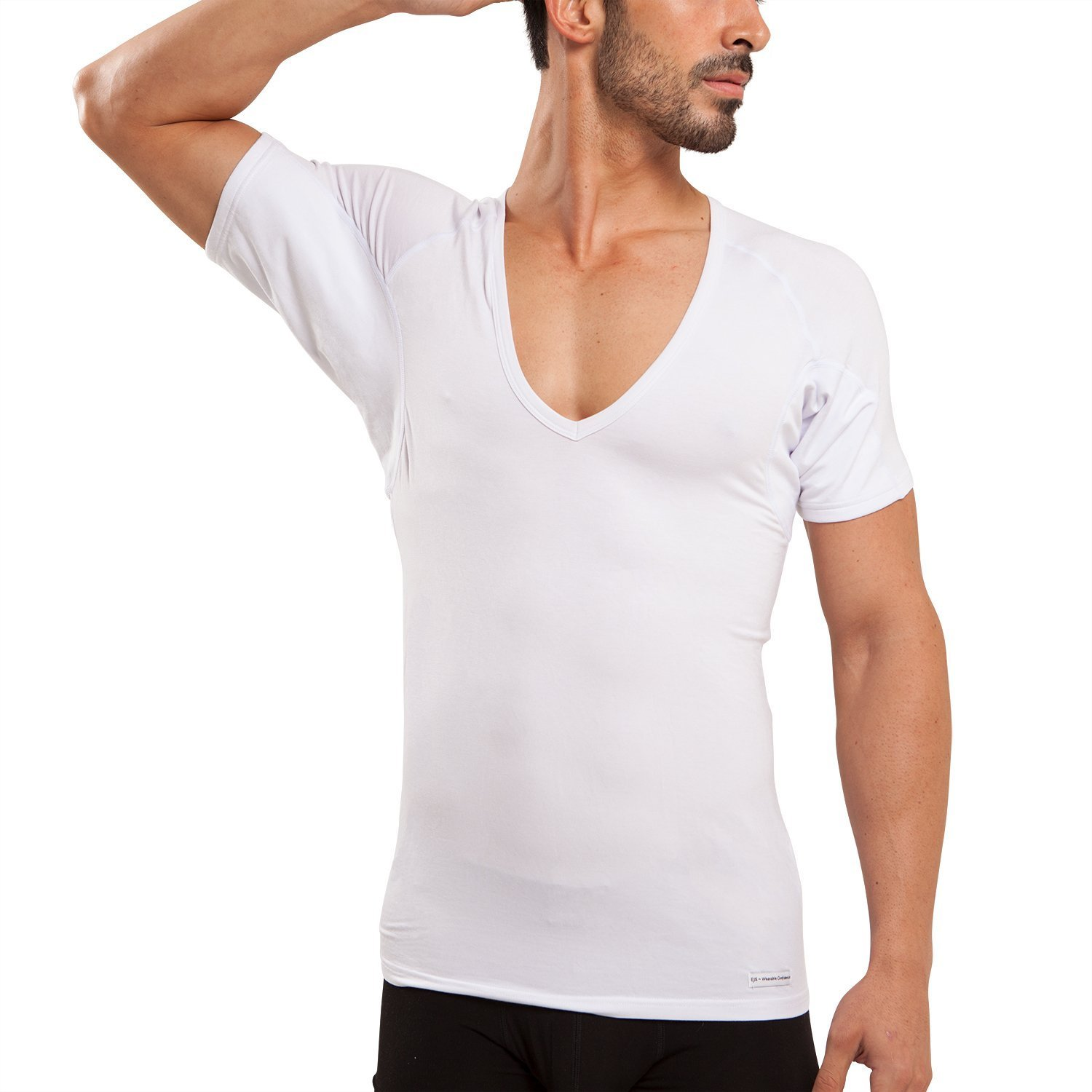 Ejis Sweatproof Undershirts Men Deep V Micro Modal Odor Fighting Silver (Large, White)