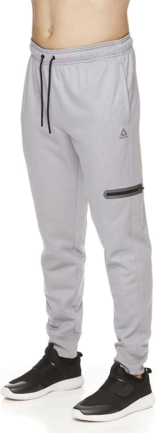 Reebok Men's Jogger Running Pants with Zipper Pockets - Athletic Workout Training & Gym Sweatpants