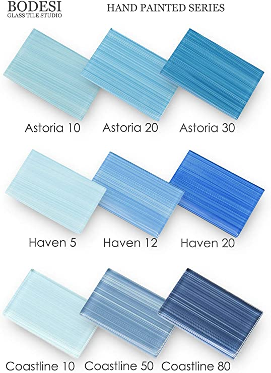 Peacock Blue Sample Pack Hand Painted Glass for Tile Kitchens and Bathrooms