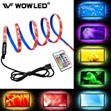 WOWLED RGB 2M LED TV Backlight USB Powered, Waterproof 60 LEDs 5050 SMD Multi Color TV Back Lights Strip Kit with 24 Key IR Remote Controller, Home Theater USB LED Lighting Kit 6.56ft