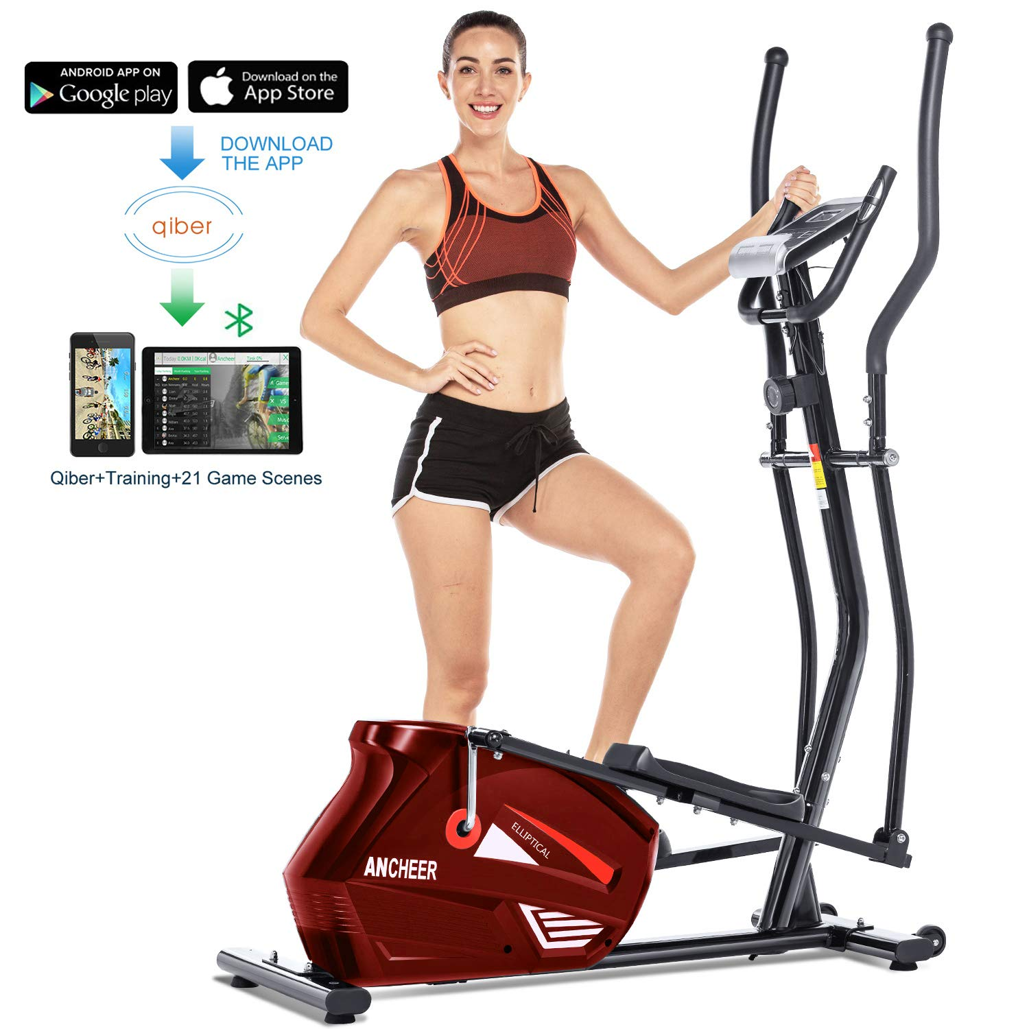 Pulse and APP Control ANCHEER Elliptical Machine Elliptical Trainer Exercise Machine Magnetic Smooth Quiet Driven with LCD Monitor