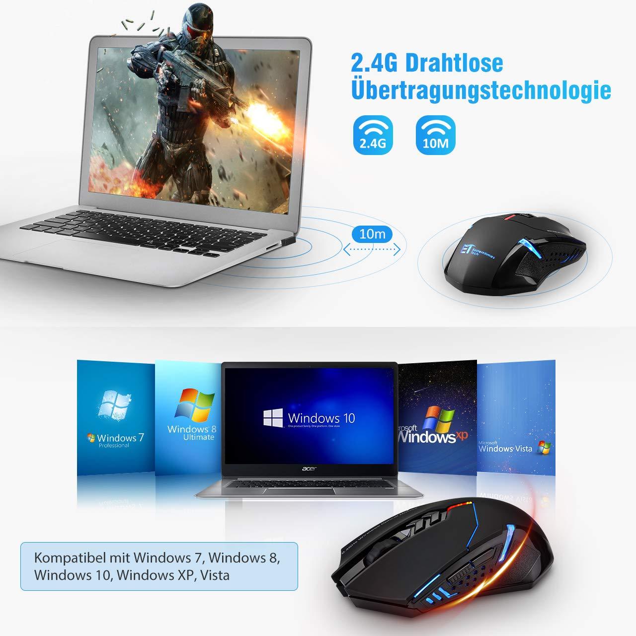 TOPELEK Laptop Maus Mute-Maus 2.4 G 2400 DPI Home. Drahtlose Maus Silent Schnurlos Funkmaus Gaming Maus Funk Wireless-Maus Optical Business Mouse M/äuse F/ür PC Laptop iMac MacBook Office 7 Tasten