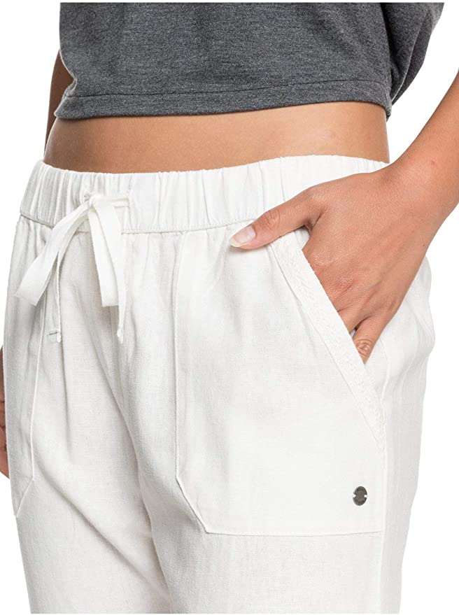 Roxy on The Seashore Femme on The Seashore Pantalon /élastique en Lin pour Femme Pantalon /Élastique en Lin pour Femme Pantalon /élastique en Lin
