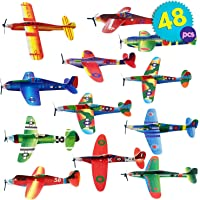 THE TWIDDLERS Paper Toy Planes 48 Pcs - Flying Foam Airplane Glider Kit in 12 Assorted Designs | Kids Birthday Party Supply | Goodie Bag Fillers | Indoor Outdoor Fun Activity Play Entertainment