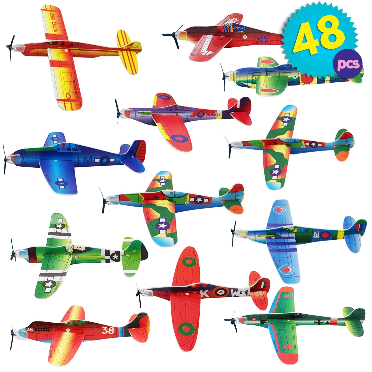 The Twiddlers 48 Paper Toy Planes - Flying Foam Airplane Glider Kit in 12 Assorted Designs - for Kids Birthday Party Supply | Goodie Bag Fillers | Classroom Prize | Lucky Dip Favors by The TWIDDLERS