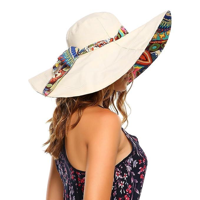 35cef36ae38e7 Packable Extra Large Brim Floppy Sun Hat Reversible UPF 50+ Beach Sun  Bucket Hat (