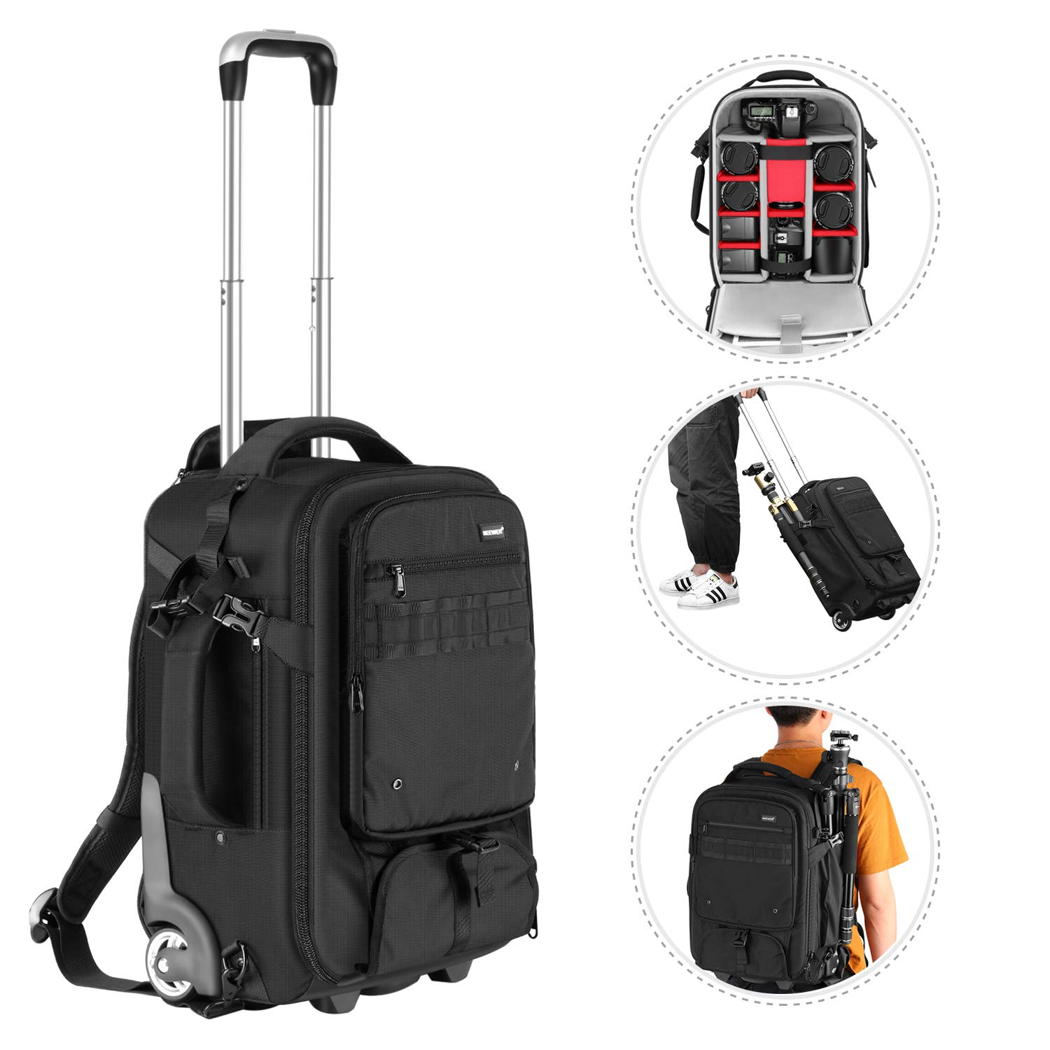 Neewer 2-in-1 Rolling Camera Backpack Trolley Case with Side Handle- Anti-Shock Detachable Padded Compartment, Hidden Pull Bar, Durable, Waterproof for Camera,Tripod,Flash Light,Lens,Laptop(Black)