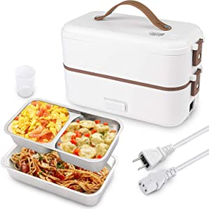 Electric Lunch Box, Heated Bento Box for Adult, 2 Layers Self Heating Lunch Box, Food Warmer for Home Office School Travel, As an Egg Steamer and Mini Rice Cooker, 304 Stainless Steel Containers(110V)