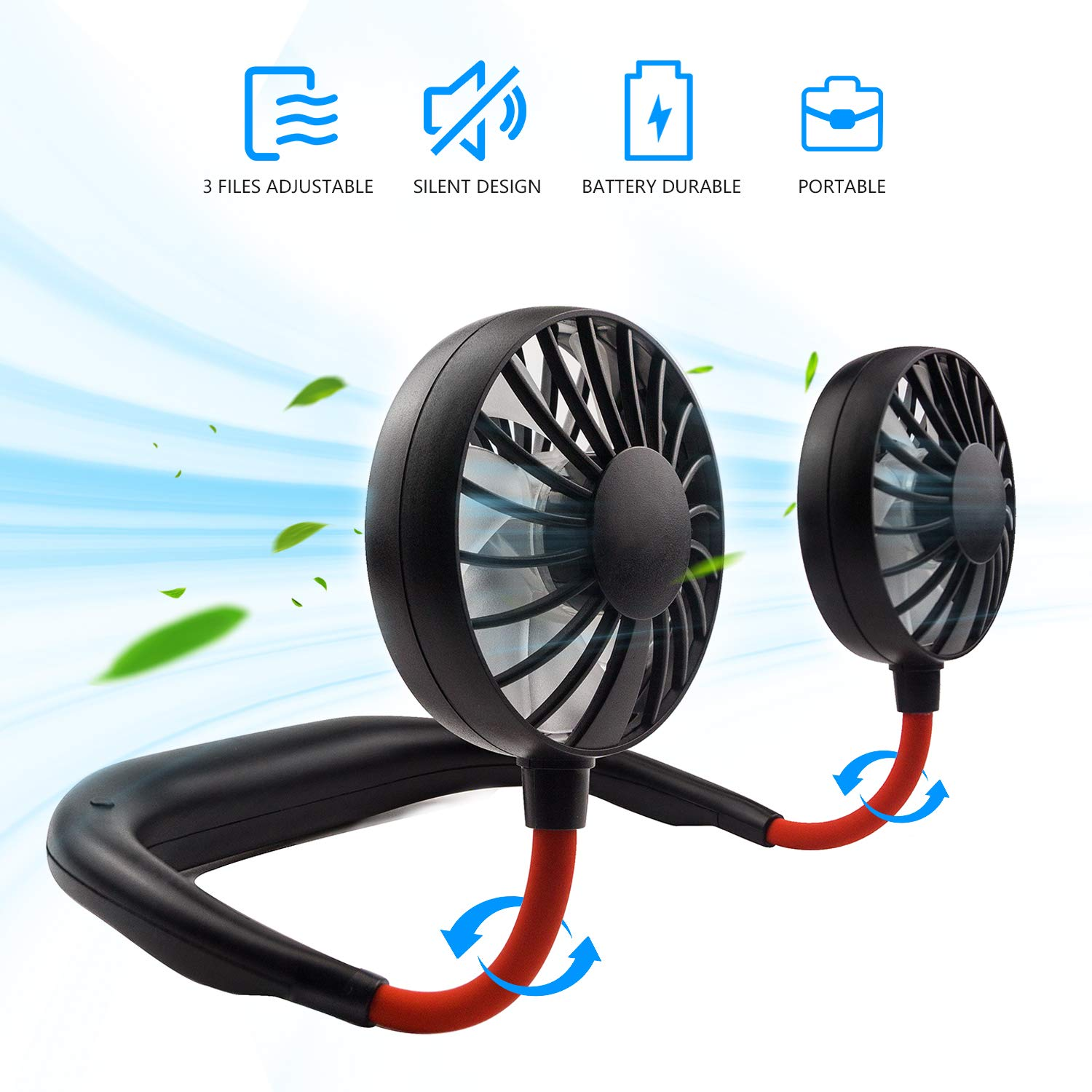 Hand-Free Personal Fan, Mini Portable USB Rechargeable Fan, with 3 Speed Adjustable, 360 Degrees Free Rotation Perfect for Traveling, Sports and Office Room, Headphone Design, Neckband Wearable by JUANANIUG