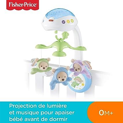 Fisher-Price Doux Rêves Papillon 3-en-1 Mobile Musical pour Lit Bébé  Télécommandé, Projection de Lumières, Musiques et Sons, dès la Naissance,  CDN41