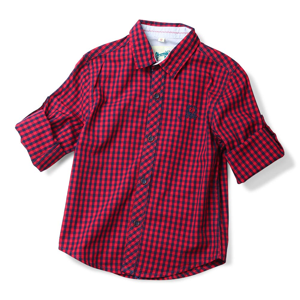 Phorecys Little Boys' Roll Up Long Sleeve Plaid Flannel Shirt LB-CS-814A