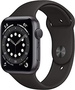 Apple Watch Series 6 (GPS, 44mm) - Space Gray Aluminum Case with Black Sport Band (Renewed)