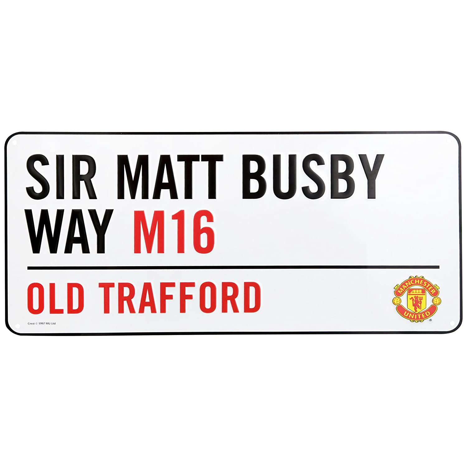 Manchester United FC Official Metal Stadium Street Sign (One Size) (White) UTMS279_1
