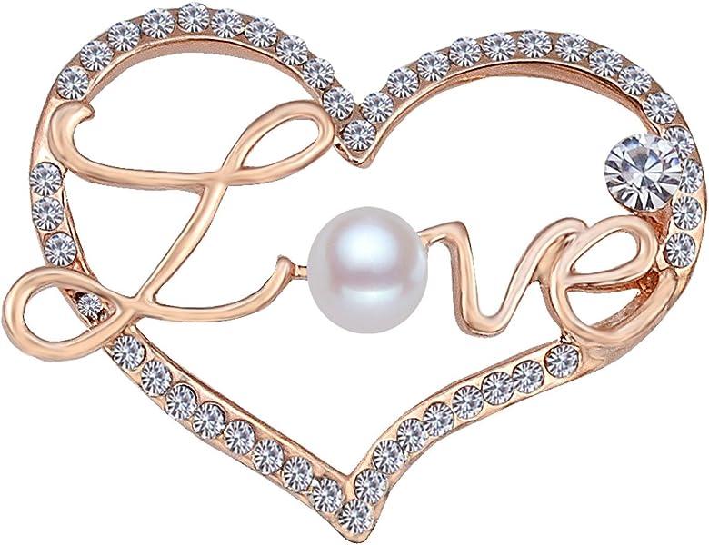 Gold,Silver FENGJI Double Heart Crystal Lovely Jacket Rhinestone Brooch Pin