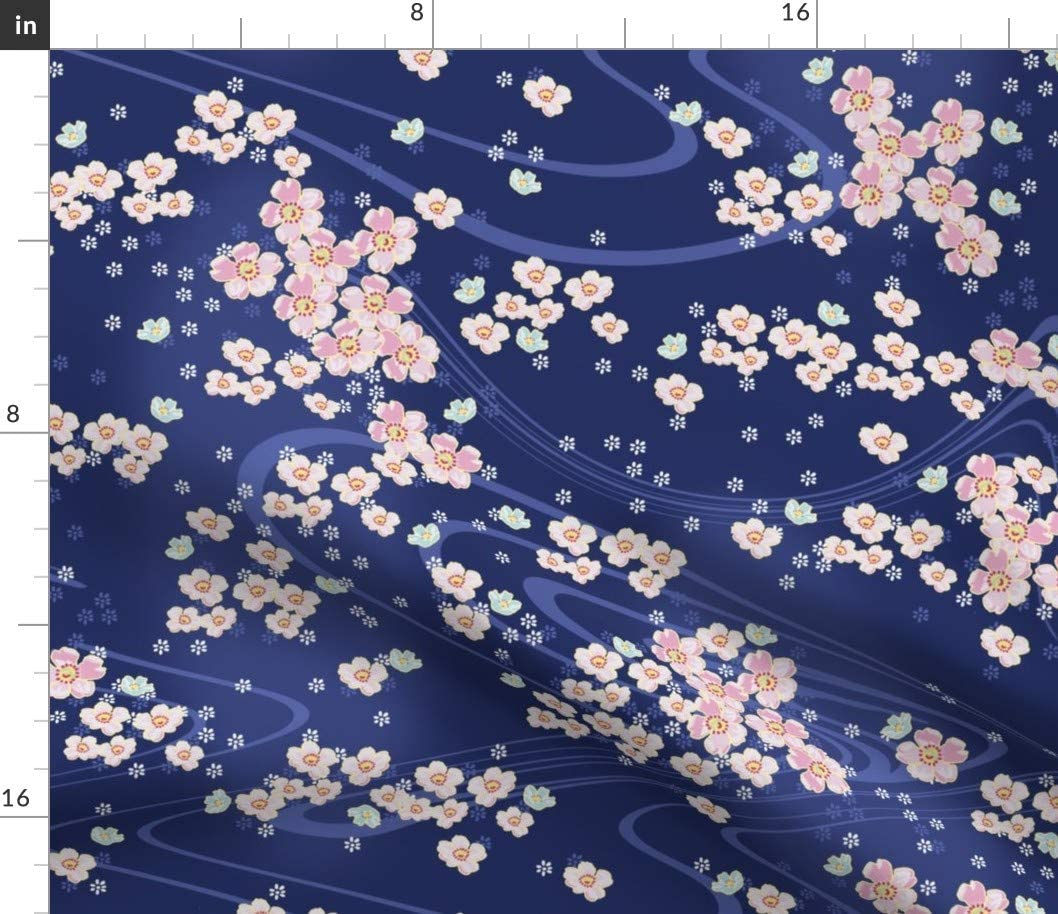 Spoonflower Fabric - Japanese Navy White Blue Ink Pink Flowers Garden Cherry Blossoms Printed on Minky Fabric by The Yard - Sewing Baby Blankets Quilt Backing Plush Toys