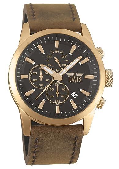 Davis 1961 - Reloj piloto para hombre, de Acero color oro rosa, esfera marron de 44mm con cronógrafo sumergible hasta 100 metros, correa de piel marron: ...