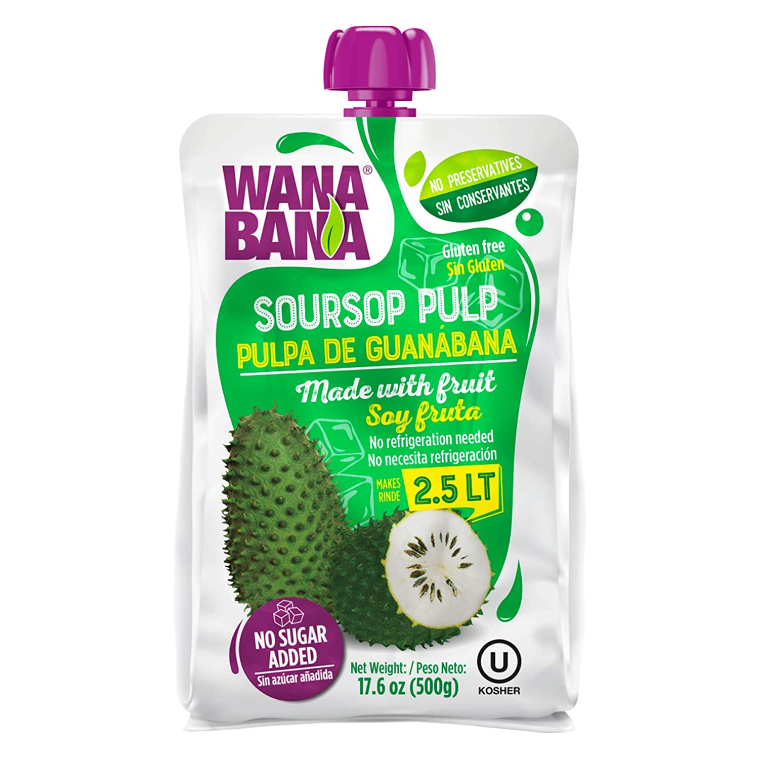 Wanabana 100 Percent Real and Natural Fruit Pulp for Juice Making, Soursop, 17.64 Ounce (Pack of 1)