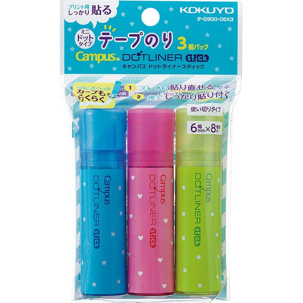 Kokuyo tape glue dot liner stick data -D900-06X3 Kokuyo Co. Ltd. タ-D900-06X3
