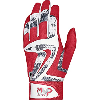 Nike MVP Elite Adult Baseball Batting Glove GB0401 White/University Red/Wolf Grey (S)