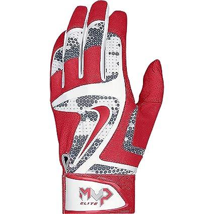 Nike MVP Elite Adult Baseball Batting Glove GB0401 White/University Red/Wolf Grey (S)