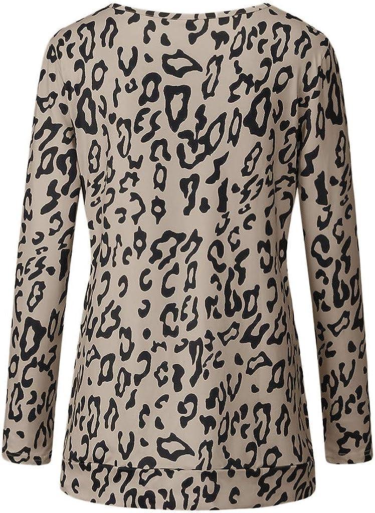 Women Trendy Leopard Print Casual Long Sleeve Sweatshirts Crew Neck Loose Oversized Split T Shirt Blouses Side Cutout