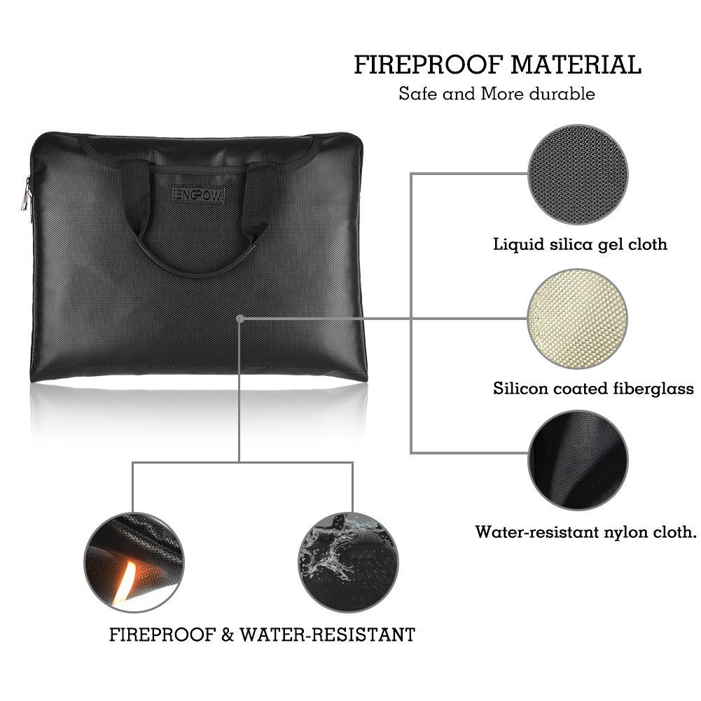 A4 Document Bag Fireproof 17 Inch Laptop Bag Classic Messenger Businessman Briefcase with Handle,Water Resistant Pouch Fire Safe Storage for Document Tablet Letter Money Cash Passport(15\
