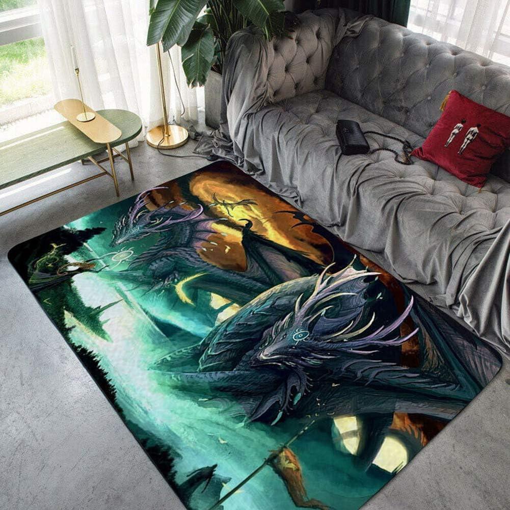 Large Non-Slip Area Rug 3D Game of Thrones Dragon Anime Cartoon Carpet Living Room Rugs Floor Mat Doormats Nursery Rugs Home Decor Yoga Mat Standing Mat,Dragon1,50x80cm