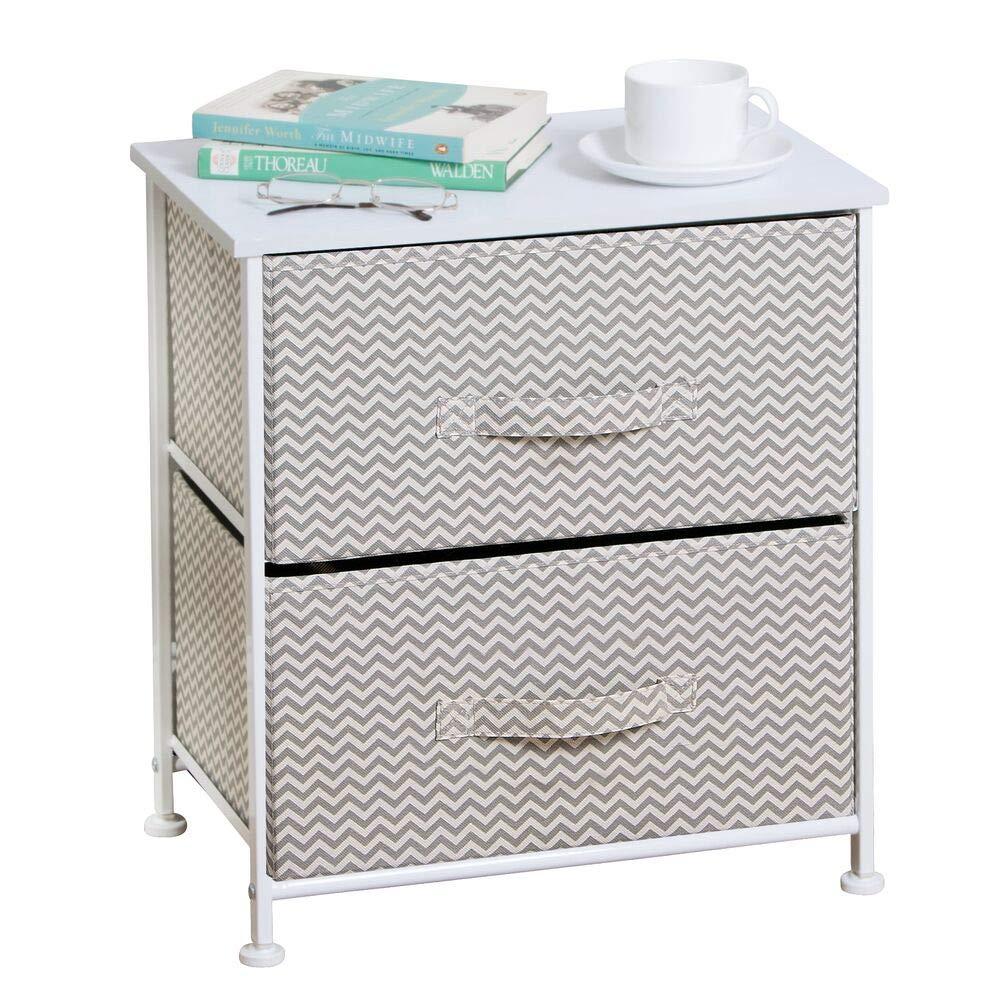 mDesign Mesa de luz con 2 cajones - Organizador de armarios en tela - Cajoneras para armarios, para el dormitorio o el vestidor - Color gris ...