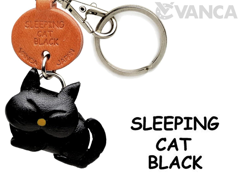 ブラックSleeping CatレザーCat SmallキーチェーンVANCA B008DPXII0 craft-collectibleキーリングチャームペンダント日本製 B008DPXII0, あいる:05b3e2bd --- awardsame.club