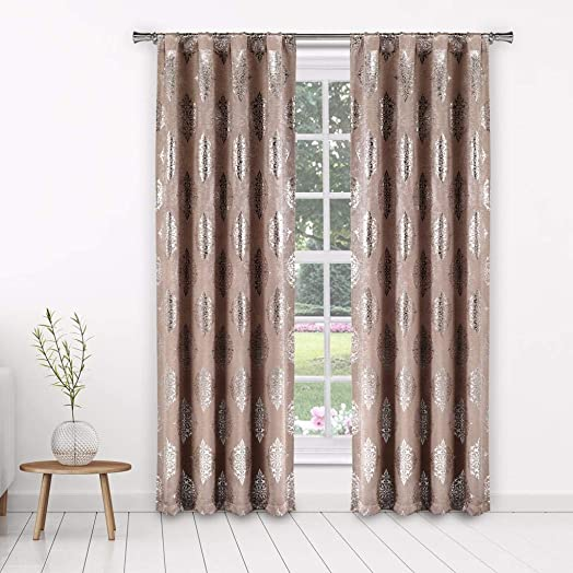 Home Maison Nash Blackout Window Curtain, 37 x 96 Inches, Blush