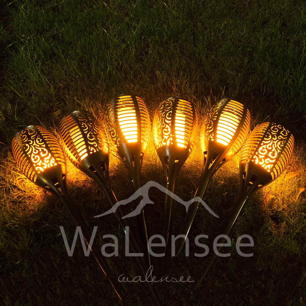 Walensee Solar Lights Outdoor Upgraded, Waterproof Flickering Flames Torch Lights Outdoor Solar Spotlights Landscape Decoration Lighting 96 LED Dusk to Dawn Auto On/Off Security Torch Light (4 Pack) by Walensee (Image #6)