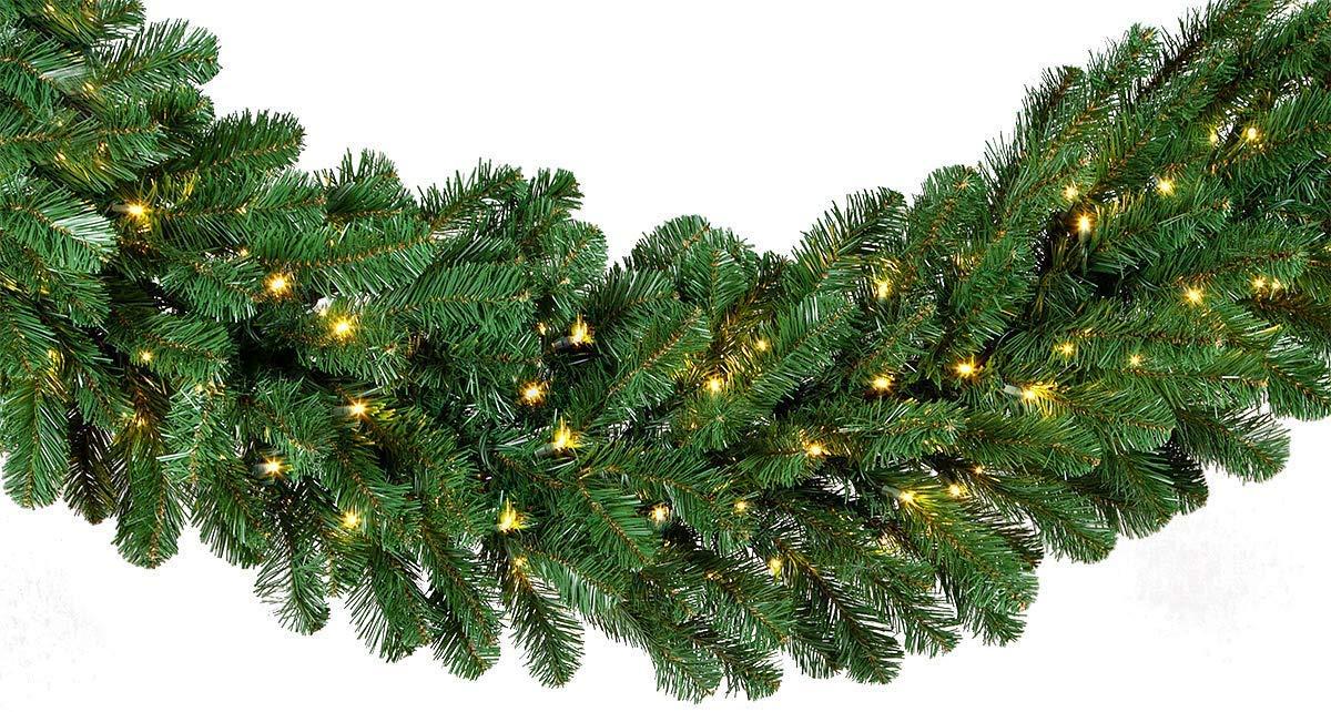 Red Sleigh Prelit Oregon Fir Commercial Grade Christmas Garland Greenery