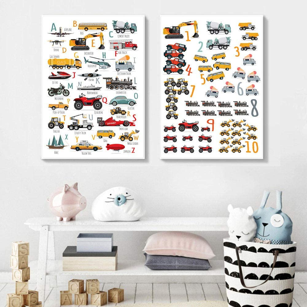 Toy Cars Alphabet Posters Number Letter Learning Wall Art Print Boy Car Poster Nursery Painting Picture Boy Kids Room Decoration 50x70 cm No Frame