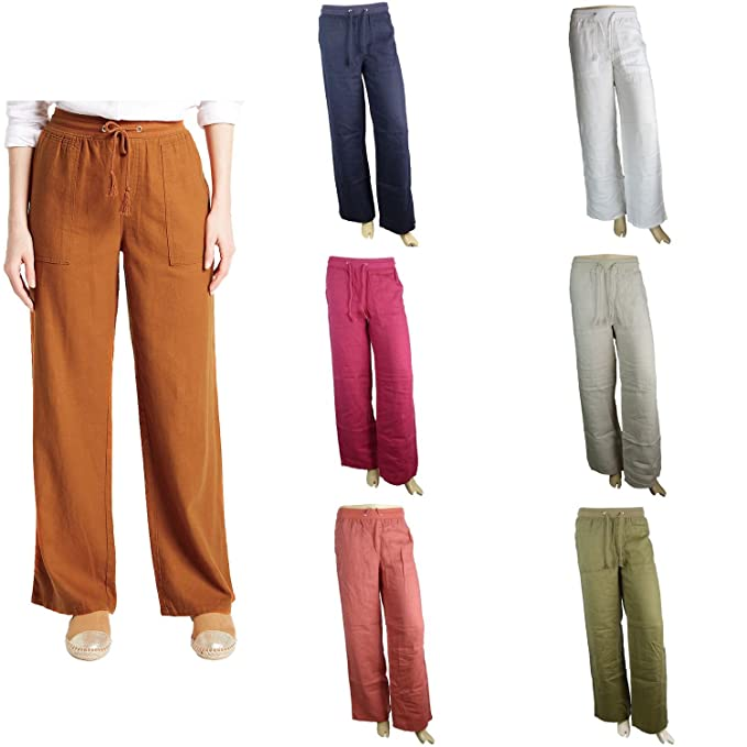 variety of designs and colors wide varieties outlet sale Marks and Spencer EX M&S Linen Rich Beach Wide Leg Trousers
