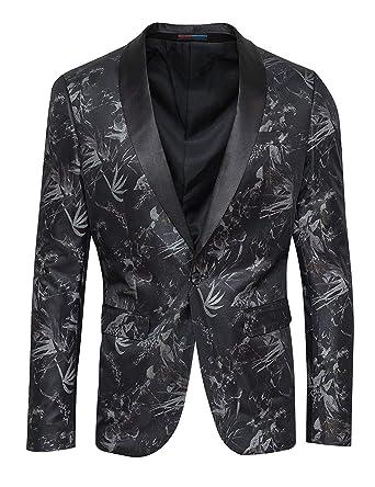 Evoga - Chaqueta Blazer para Hombre, Color Negro, Damasco ...