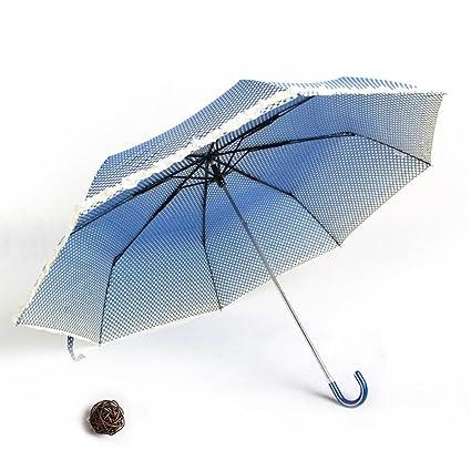 Kaxima Paraguas, Paraguas, Mango de Cuero de Tres Pliegues, cordón, Gancho,