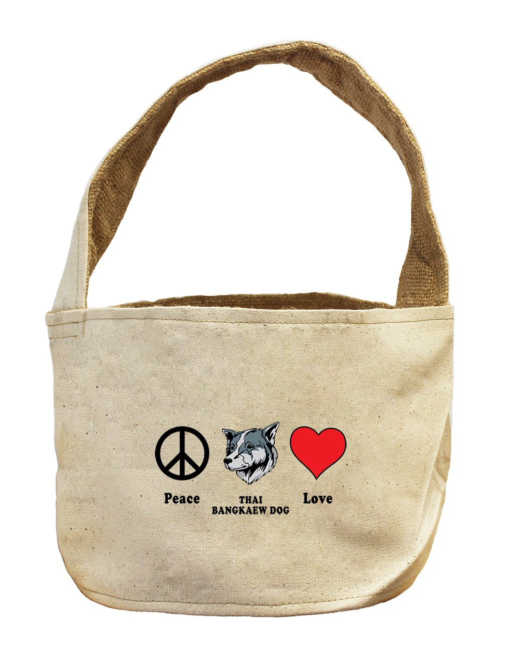 Style in Print Canvas And Burlap Storage Basket Peace Love Thai Bangkaew Dogdog