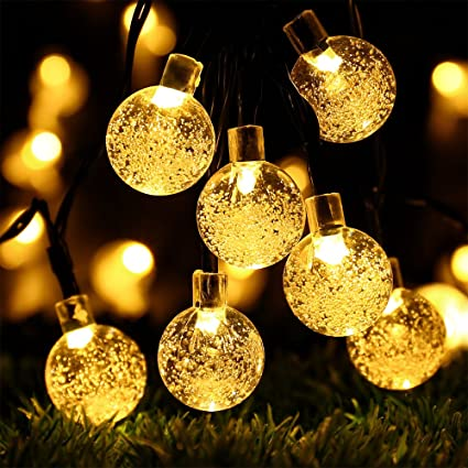 globe battery operated string lights with timer recesky 30 led 175ft crystal ball decor - Battery Operated Christmas Yard Decorations