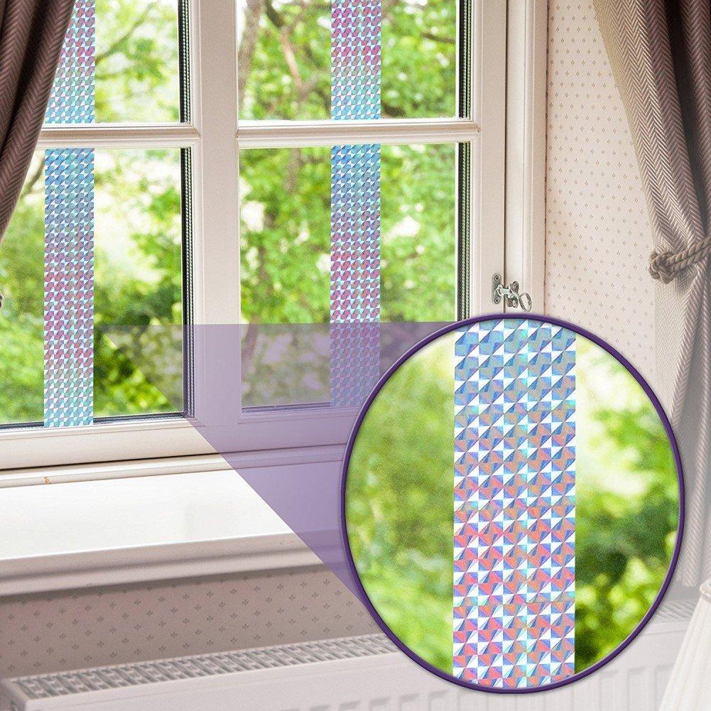 Great Houseware Cinta Adhesiva Reflectante de Doble Cara para P/ájaros y Plantas de Jard/ín con Dise/ño de P/ájaros
