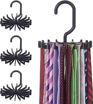 360° Rotating Tie Belt Scarf Compact Hanger Rack Holder Home Hanging Hooks 8C