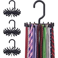 DIOMMELL 4 Pack Tie Rack Hanger Holder Hooks Organizer for Mens, 360 Degree Rotating Tie Racks, Black