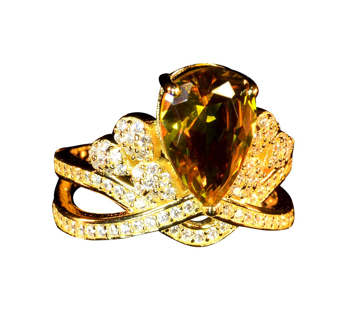 Silver ring alexandrite colors changing gem fine jewelry 925 sterling silver micro paved speccially designed classic pear stone shape fancy diamond style engagement ring (Yellow-gold, 7)