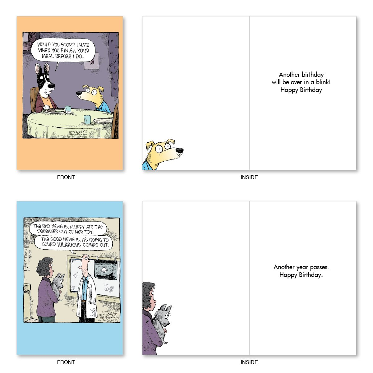 "10 'Dog Days Birthday Assortment' Note Cards (with Envelopes) - Assorted & Boxed Greeting Cards - Funny Cartoon Bday Cards for Friends, Family, All Ages - Stationery Notecards (4"" x 5 ¼"") #A2665BDG by NobleWorks (Image #5)"